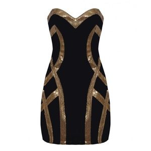 5b87663e60520 lipsy Dresses | Bandeau Gold Sequins Trim Black Dress | Poshmark